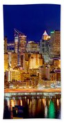 Pittsburgh Pennsylvania Skyline At Night Panorama Beach Towel