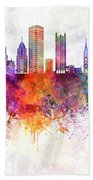 Pittsburgh V2 Skyline In Watercolor Background Beach Towel