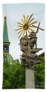 Plague Column And Saint Martin Cathedral Beach Towel