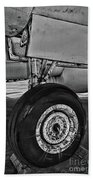 Plane - Landing Gear In Black And White Beach Towel