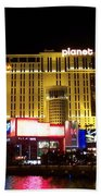 Planet Hollywood By Night Beach Towel