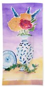Plate And Flowers Beach Towel