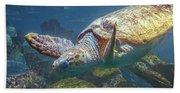 Playful Green Sea Turtle Beach Towel