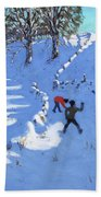 Playing In The Snow Youlgrave, Derbyshire Beach Towel