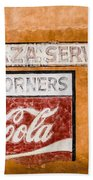 Plaza Corner Coca Cola Sign Beach Towel
