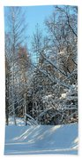 Plowed Winter Street In Sunlight Beach Towel