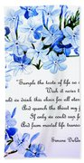 Plumbago   Poem Beach Towel