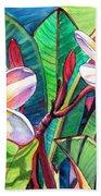 Plumeria Garden Beach Towel by Marionette Taboniar