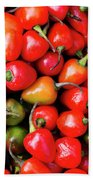 Plump Red Peppers Photo Stock Beach Towel