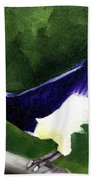 Plush Crested Jay Beach Towel