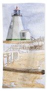 Plymouth Light In Winter Beach Towel