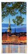 Poetic Stockholm Blue Hour Beach Towel