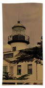 Point Pinos Lighthouse Antiqued Beach Towel