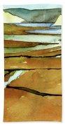 Point Reyes, Ca, Drakes Beach Estuary, Midday Tide, Watercolor Plein Air Beach Towel