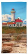 Point Wilson Lighthouse And Driftwood Beach Towel