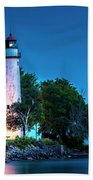 Pointe Aux Barques Lighthouse At Dawn Beach Towel