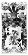 Poker King Spades Black And White Beach Towel