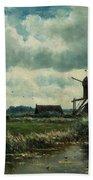 Polder Landscape With Windmill Near Aboude Beach Towel