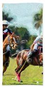 Polo Players And Ponies Beach Towel