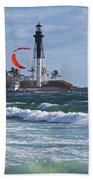 Pompano Beach Kiteboarder Hillsboro Lighthouse Waves Beach Towel