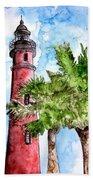 Ponce De Leon Inlet Florida Lighthouse Art Beach Towel