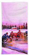 Pond Hockey Warm Skies Beach Towel