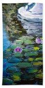 Pond In Monet Garden Beach Towel