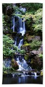 Pond Waterfall Beach Towel