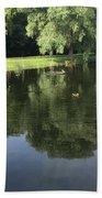 Pond With Ducks Beach Towel