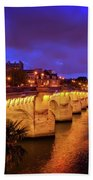 Pont Neuf At Night Beach Towel