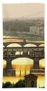 Ponte Vecchio Enlighten By The Warm Sunlight, Florence. Beach Towel