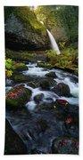Ponytail Falls With Autumn Foliage Beach Sheet