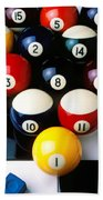 Pool Balls On Tiles Beach Towel by Garry Gay