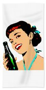 Pop Art Girl With Soda Bottle Beach Towel