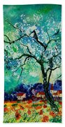 Poppies And Appletrees In Blossom Beach Towel