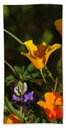 Poppies And Bluebells Beach Towel