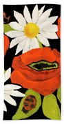 Poppies And Camomiles, Oil Painting Beach Towel