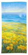 Poppies Greeting Whales Beach Towel