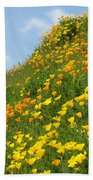 Poppies Hillside Meadow 17 Blue Sky White Clouds Giclee Art Prints Baslee Troutman Beach Towel