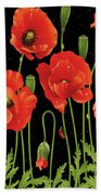 Poppies In The Starry Night Beach Sheet