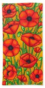 Poppies Under The Tuscan Sun Beach Towel