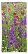 Poppy And Wild Flowers Meadow Nature Scene Beach Towel