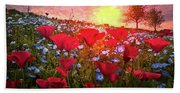 Poppy Fields At Dawn Beach Sheet