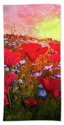Poppy Fields At Dawn Beach Towel