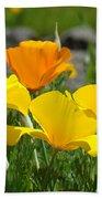 Poppy Flower Meadow 14 Poppies Orange Flowers Giclee Art Prints Baslee Troutman Beach Towel