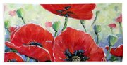 Poppy Love Floral Scene Beach Towel