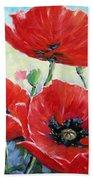Poppy Love Floral Scene Beach Towel