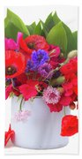 Poppy With Sweet Pea And Corn Flowers On White Beach Towel
