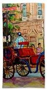 Popular Quebec Artists Carole Spandau Painter Of Scenes De Rue Montreal Street Scenes Beach Towel