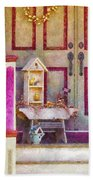 Porch - Cranford Nj - The Birdhouse Collector Beach Towel by Mike Savad